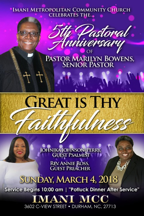 Pastor Anniversary Sunday March 2018